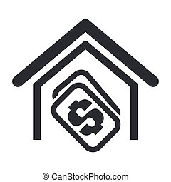 買い物, 家, 隔離された, イラスト, 単一, ベクトル, アイコン