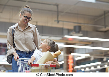 買い物, 若い, スーパーマーケット, 母