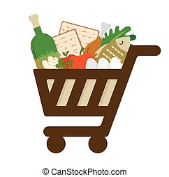 買い物, 食物, 休日, 満たされた, カート, 伝統的である, 過ぎ越しの祝い