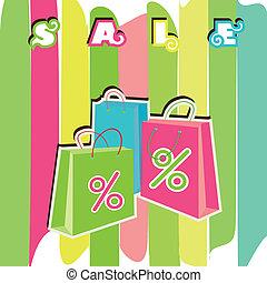 買い物, bags., セール, eps10