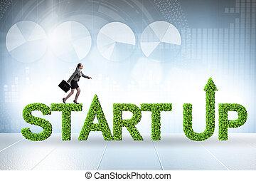 資本, スタートアップ, ベンチャー, 概念, 緑