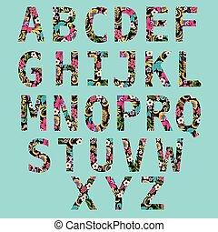 資本, 装飾用である, 手, アルファベット, 引かれる, 手紙, 英語, 花