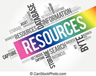 資源, コラージュ, 単語, 雲