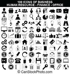 資源, セット, 金融, オフィスアイコン, ビジネス, 人間
