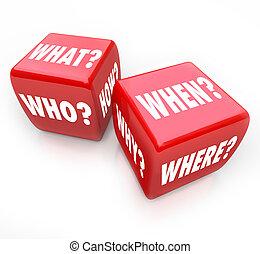 質問, -, さいころ, 答え, 回転しなさい