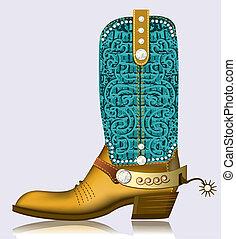 贅沢, 靴, ダイヤモンド, ブーツ, カウボーイ, デザイン, spur.