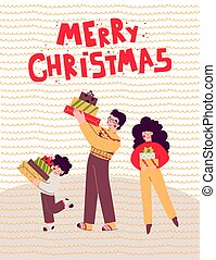 贈り物, クリスマス, 漫画, ベクトル, illustration., 家族休日, 平ら