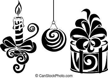 贈り物, スタイル, ろうそく, ベクトル, 白いボール, 隔離された, セット, オブジェクト, 定型, 黒い背景, イラスト