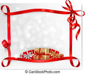 贈り物, ベクトル, 休日, 背景, 弓, 赤, 箱