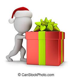 贈り物, 人々, 押す, -, santa, 小さい, 3d