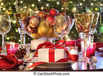 贈り物, 休日, テーブル, 赤, 設定, ribboned