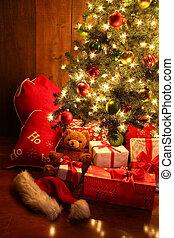贈り物, 明るく火をつけられた, 木, クリスマス