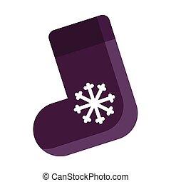 贈り物, 紫色, ソックス, 隔離された, イラスト, バックグラウンド。, ベクトル, 白い クリスマス