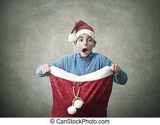 贈り物, 驚き, クリスマス, 子供