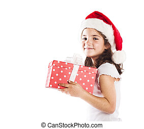 贈り物, santa, 小さい, 女の子, 帽子, クリスマス