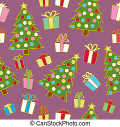 贈り物, seamless, 木, クリスマス