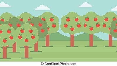 赤い背景, apples., 木