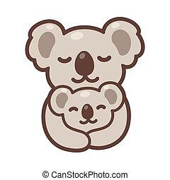 赤ん坊, お母さん, コアラ