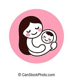 赤ん坊, お母さん, 保有物