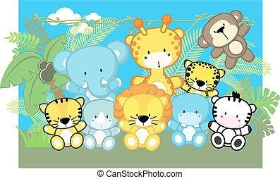 赤ん坊, かわいい, 動物, サファリ
