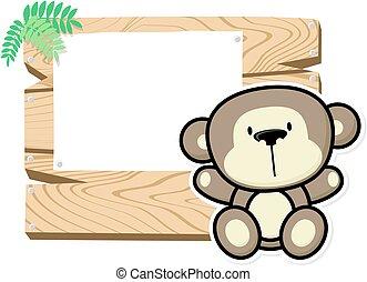 赤ん坊, かわいい, 板, サル, 印