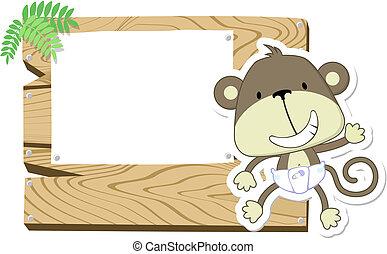 赤ん坊, かわいい, 看板, サル