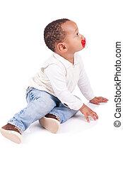 赤ん坊, かわいい, 黒, 肖像画, 男の子