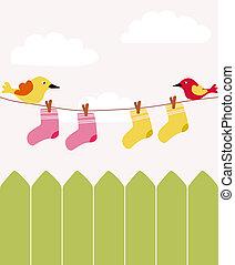 赤ん坊, フェンス, 洗濯物