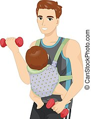 赤ん坊, 人, 仕事, 吊包帯, から