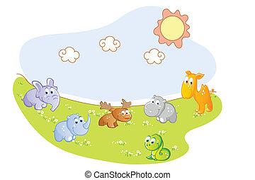 赤ん坊 動物, 庭