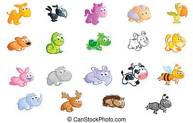 赤ん坊, 大きい, セット, 動物, 漫画