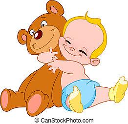 赤ん坊, 抱擁, 熊