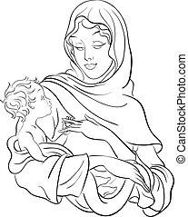 赤ん坊, 新しい, 把握, mary, イエス・キリスト