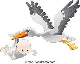 赤ん坊, 渡すこと, コウノトリ, 新生