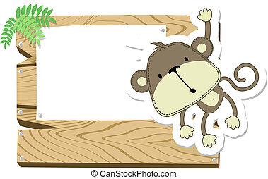 赤ん坊, 看板, サル