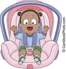 赤ん坊, 自動車, 女の子, 席