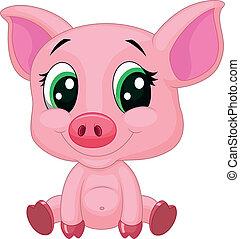 赤ん坊, 豚, 漫画, かわいい
