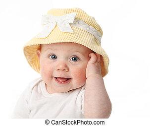 赤ん坊, 身に着けていること, 微笑, 帽子