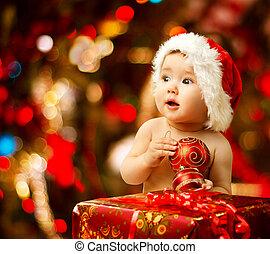 赤ん坊, santa, クリスマス帽子, 贈り物, プレゼント, 箱, 赤