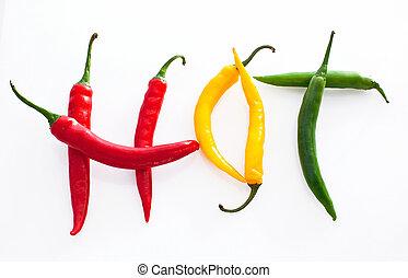 赤, チリ, 暑い, 背景, コショウ, 黄色緑, 作られた, 単語, 白