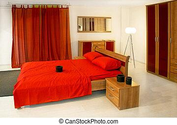 赤, 大きい, ベッド