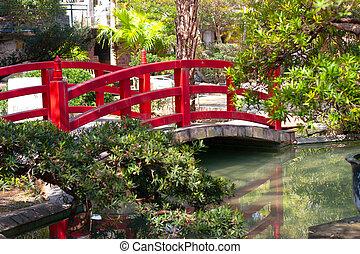 赤, 日本語, 橋, garden.