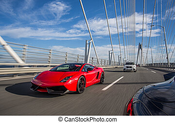 赤, 橋, 運転, 上に, cabriolet