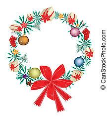 赤, 花輪, クリスマス装飾, 弓