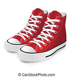 赤, 靴, スポーツ
