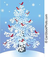 赤, 鳥, 松, 冬