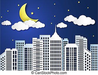 超高層ビル, ベクトル, パノラマ, city., ペーパー, 建物, 冬, 現代, 夜空, 月, 雪の景色