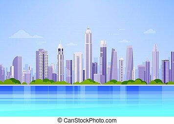 超高層ビル, 都市の景観, パノラマ, 光景, 背景, 都市 スカイライン