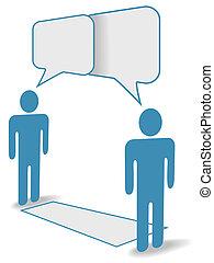 距離, 人々, コミュニケーション, チャット, 社会, 横切って