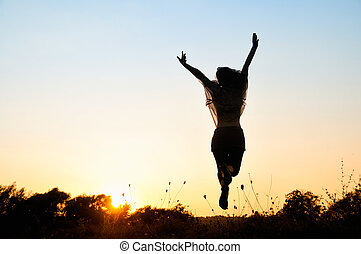 跳躍, 女の子, 自由, 美しい